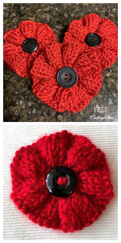 Knit Poppy Flower Free Knitting Patterns in 2020 | Knitted ...