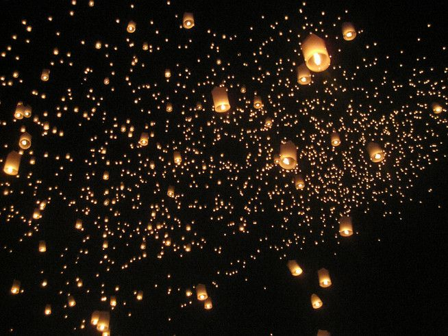 The Lantern Releasing that happens as part of Loy Krathong in Thailand... so beautiful!  http://alittleadrift.com/2011/11/loy-krathong-yee-peng-thailand/