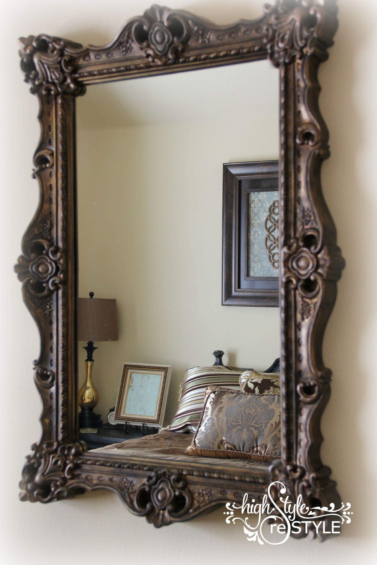 How To Update A Mirror With Paint Highstyle Restyle Gold Framed Mirror Mirror Painting Painting Mirror Frames