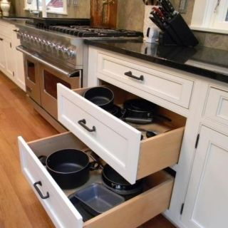 Kitchen Drawers For Pots And Pans julie fergus, cabinet drawers - pots and pans in large drawers