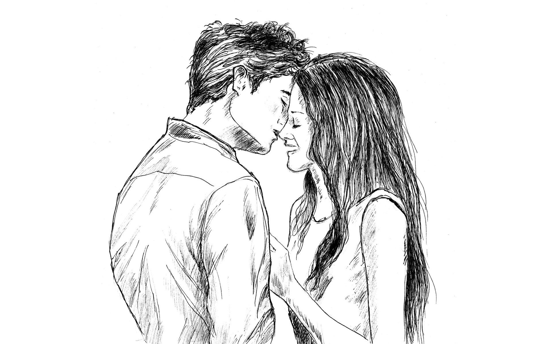 Romantic couple love drawing hd wallpaper cute drawings of
