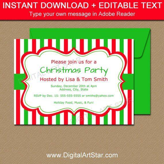Christmas Invitation Template - EDITABLE Xmas Invitations Cute