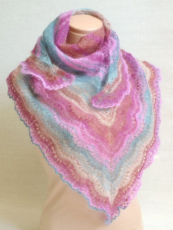 Hand Knitted Women\'s Multicolor Shawl - Mohair Lace Baktus Shawl For ...