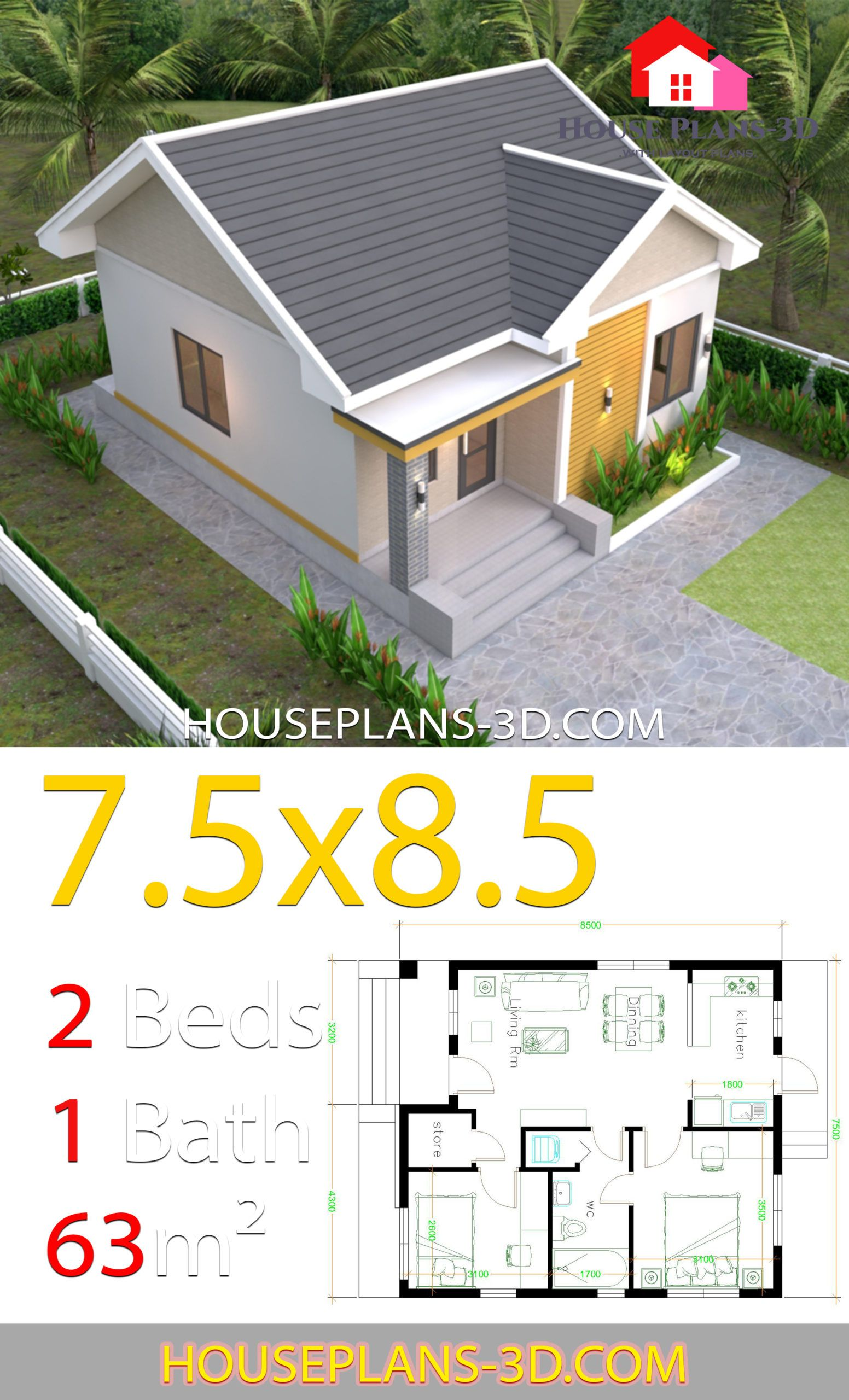 House Plans 7 5x8 5m With 2 Bedrooms Gable Roof House Plans 3d House Construction Plan House Plan Gallery Architectural House Plans