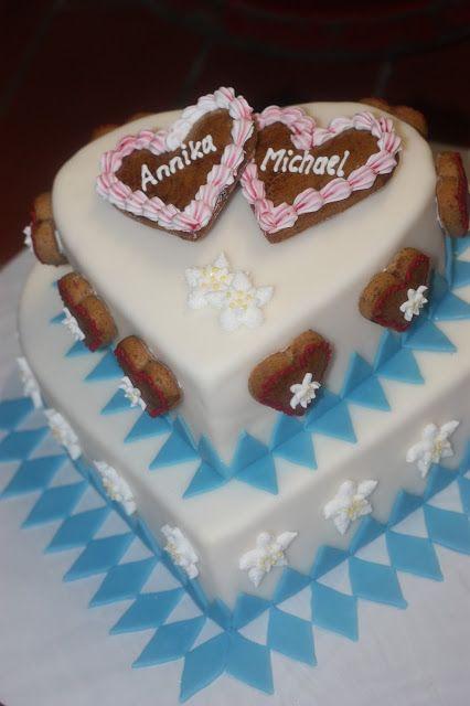 Bayerische Hochzeitstorte Lebkuchen Herzen Edelweiss Heiraten