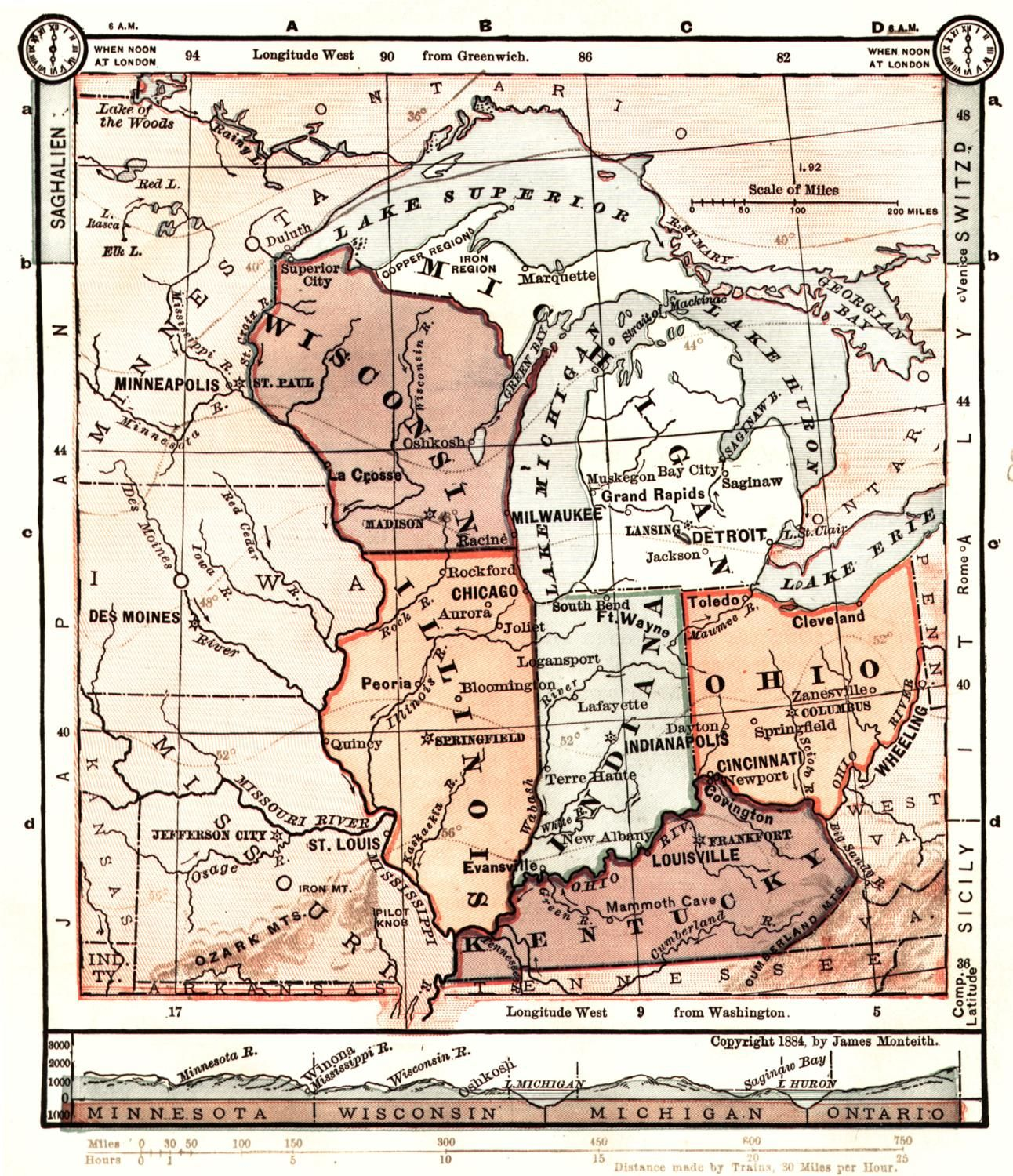 1884 Midwest Us Map From The Wisconsin Digital Map Library - Map-of-the-midwest-us