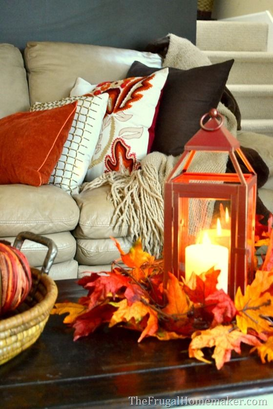 Wam and cozy fall living room - The Frugal Homemaker