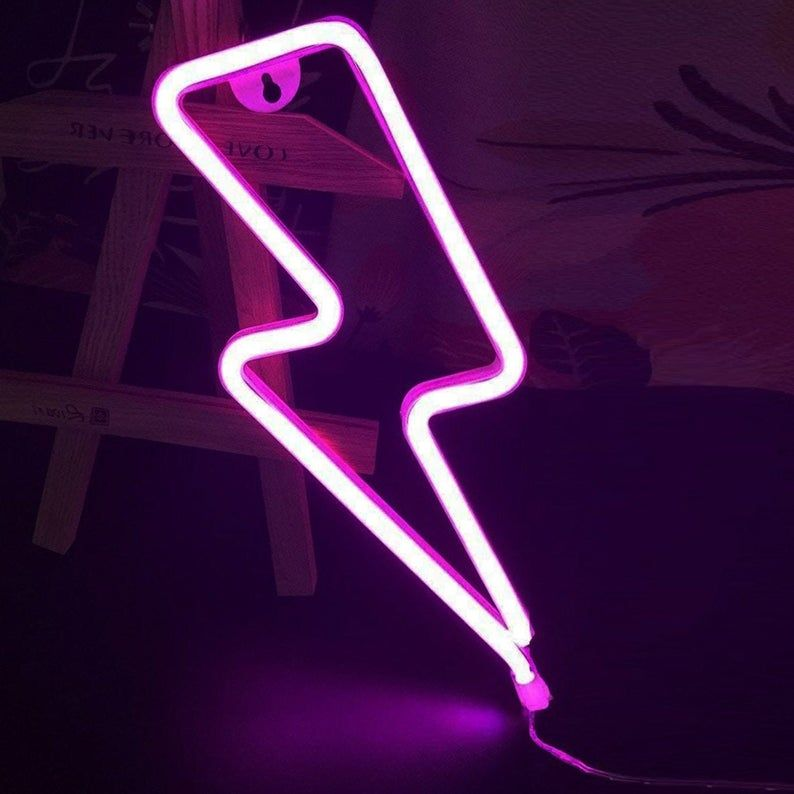 Lightning Bolt Neon Light LED LED for Bedroom, Pink Neon