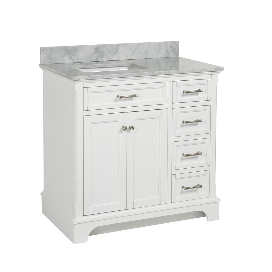 Allen + Roth Roveland White Undermount Single Sink Birch/Poplar Bathroom  Vanity With Natural Marble