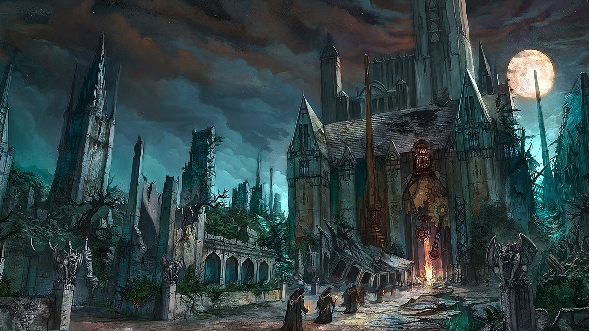 Dark fantasy horror gothic art monk cathedral church ...