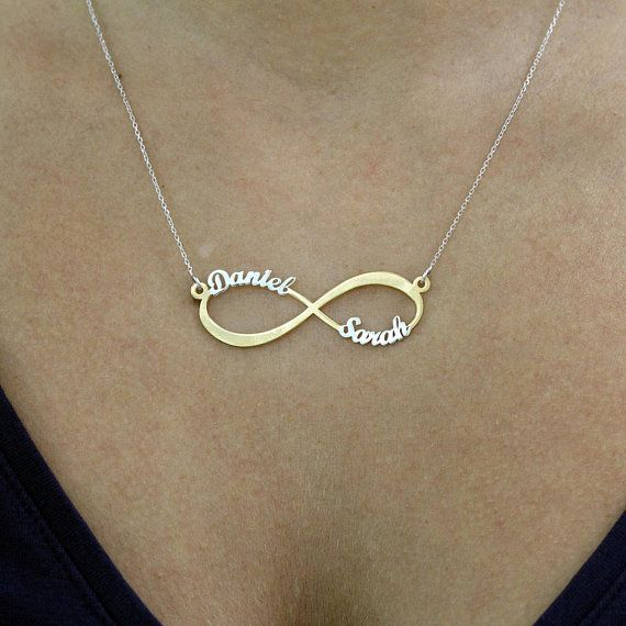 d80d06f2143ff Amazing two tone Infinity Name Necklace 18k Gold plated on 925 ...