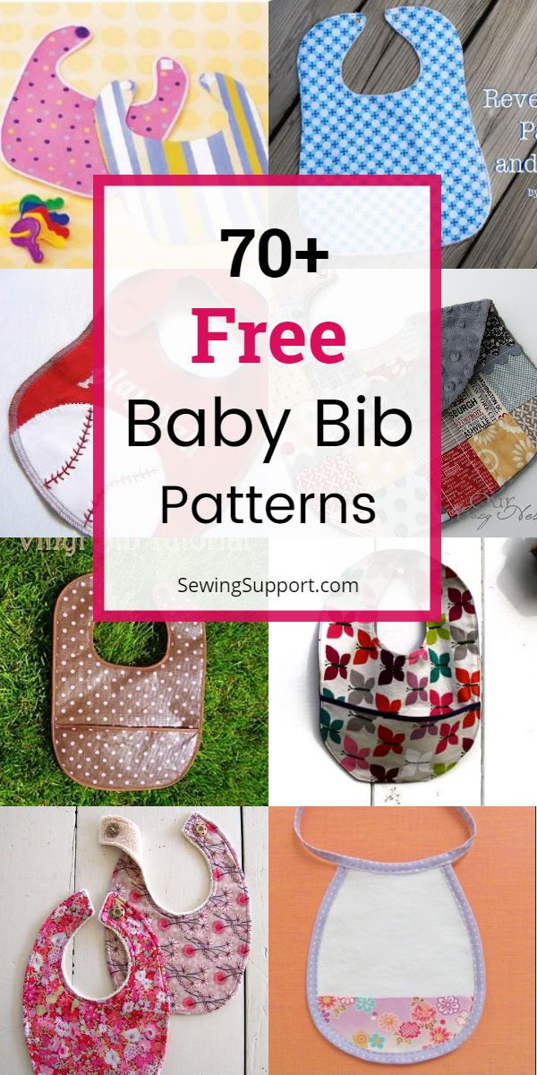 DIY Baby Bibs. 70+ free baby bib patterns, tutorials, and diy sewing projects, many with printable templates. Make your own homemade baby bib. Great quick and easy diy baby shower gift. #SewingSupport #Baby #Bib #Diy #Sewing #Pattern #Tutorial #Project