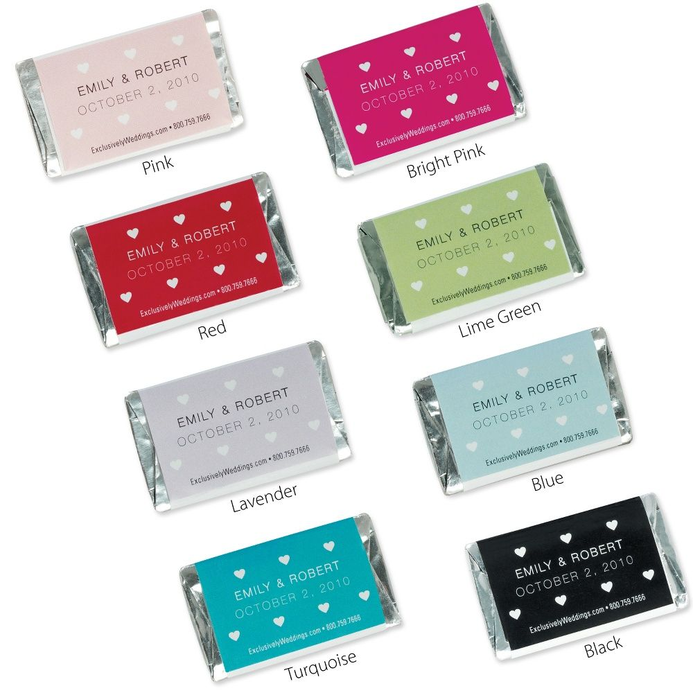 Hershey\'s® Personalized Mini Hearts Mini Chocolate Bar Favor ...