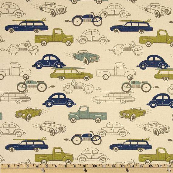 Vintage Car Theme Nursery Fabric Decor Car Fabric