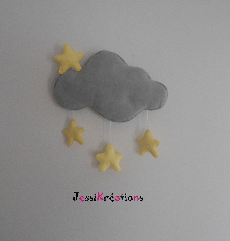 Décoration murale chambre bébé enfant gros nuage mobile avec