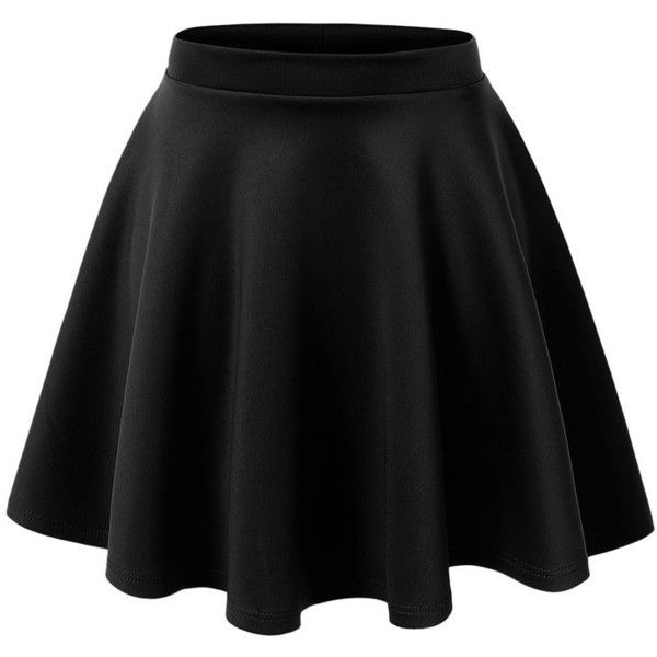 LE3NO Womens Basic Versatile Stretchy Flared Skater Skirt (205 ARS) ❤ liked on Polyvore featuring skirts, skater skirt, flare skirts, fitted skirts, flared hem skirt and elastic skirt