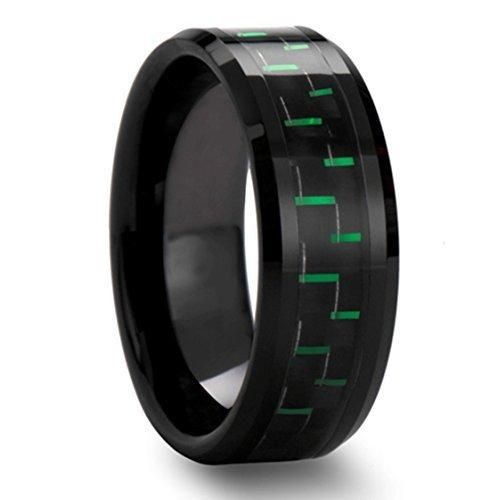 King Will Tungsten 8mm Black And Green Carbon Fiber Inlay Comfort Fit Men S Wedding Band Ring
