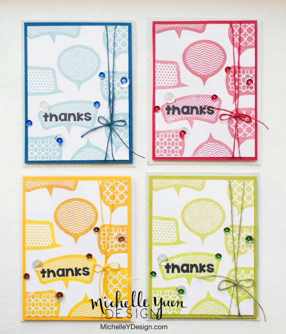 Set of 4 Thank you Cards Monochrome speech by MichelleYDesign