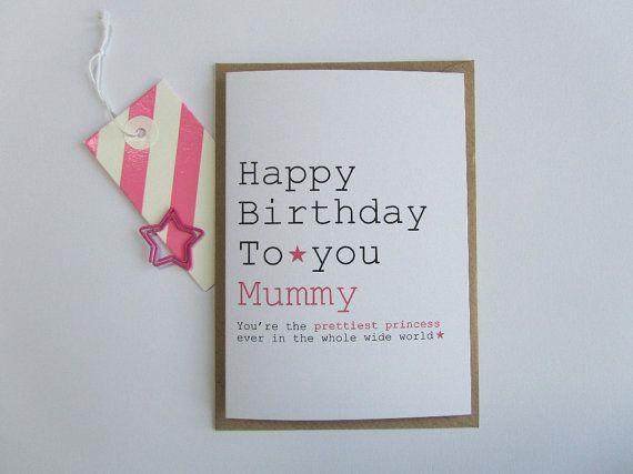 Mummy Birthday Card Birthday Card For Mummy Princess Mummy Etsy Birthday Cards Happy Birthday Mummy Card Making Inspiration