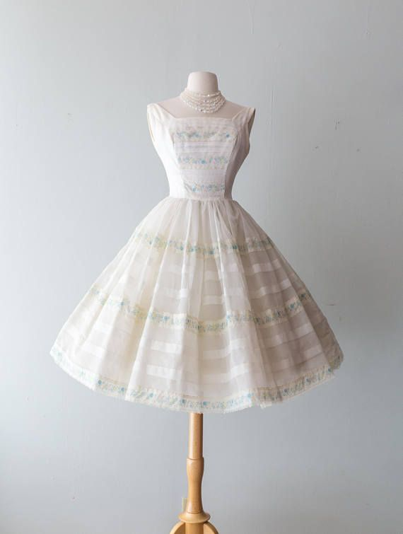 Vintage 1950s Dress - 60s 50s White Cupcake Party Dress With Full ...