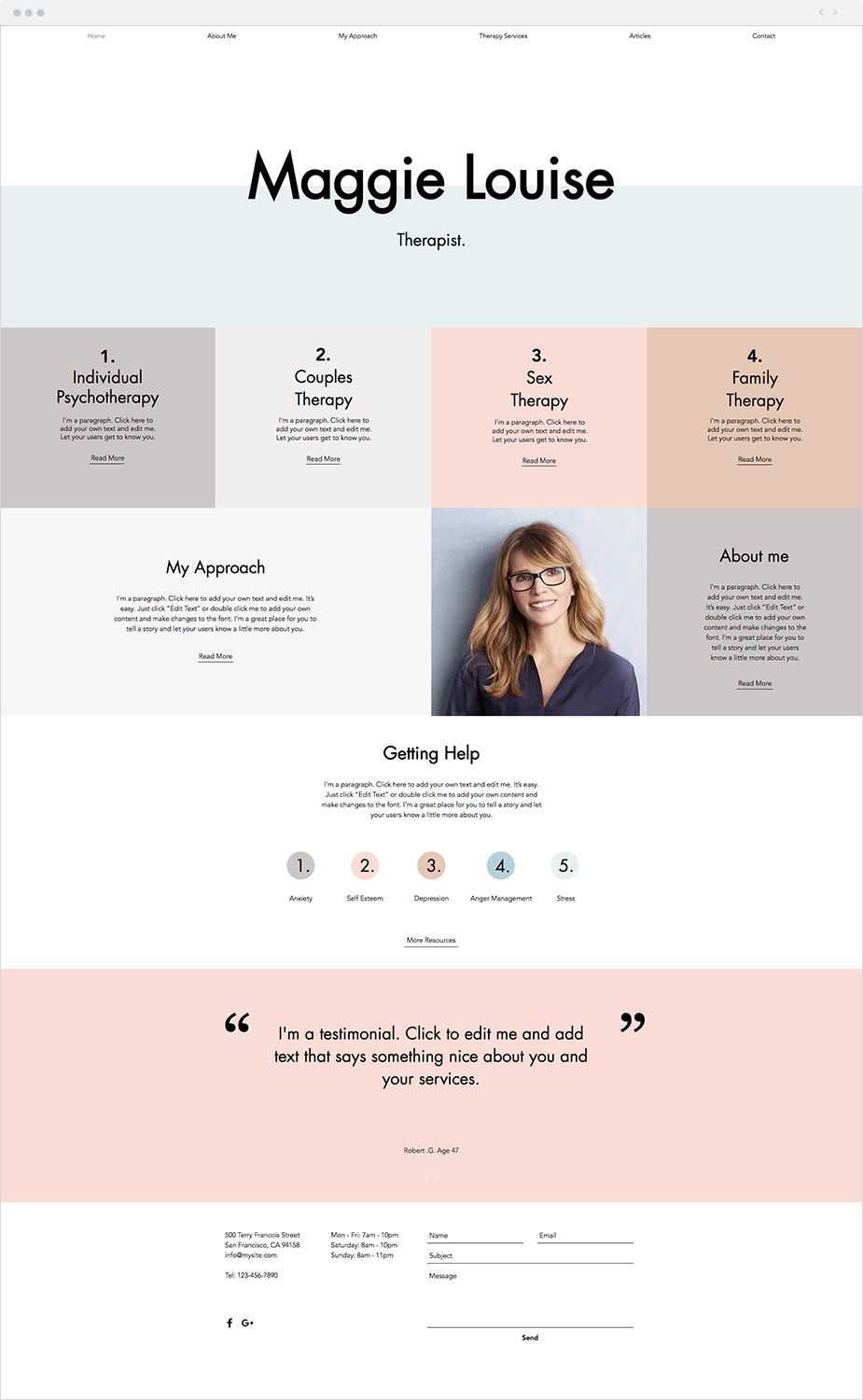 Therapy Services Website Template Blog Layout Design Website Design Homepage Design