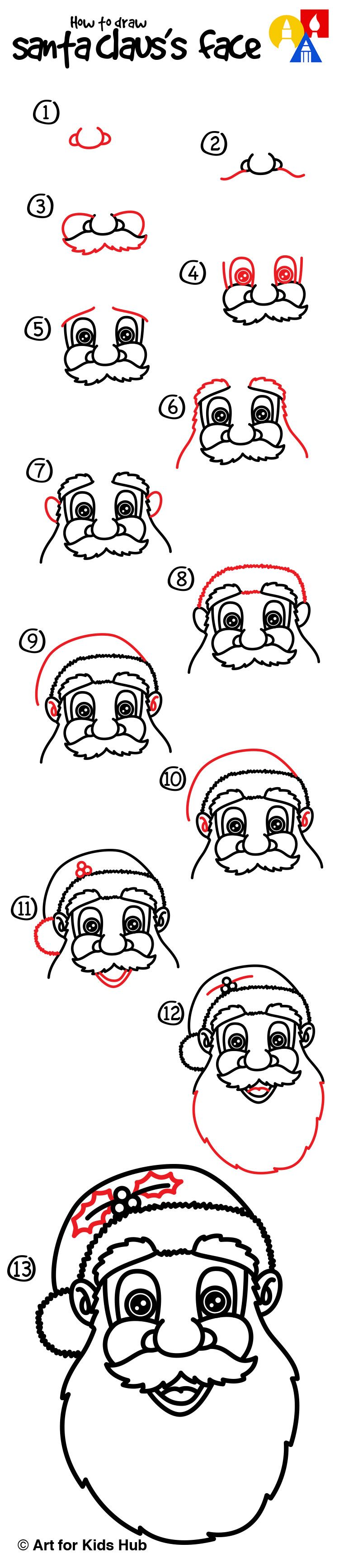 How To Draw Santa Claus's Face Art For Kids Hub Art