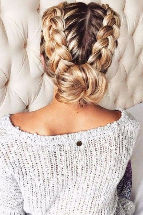 35 Trendy Prom Updos Double Dutch Braid With A Bun Hairstyle On Point Hair Styles Long Hair Styles Hairstyle