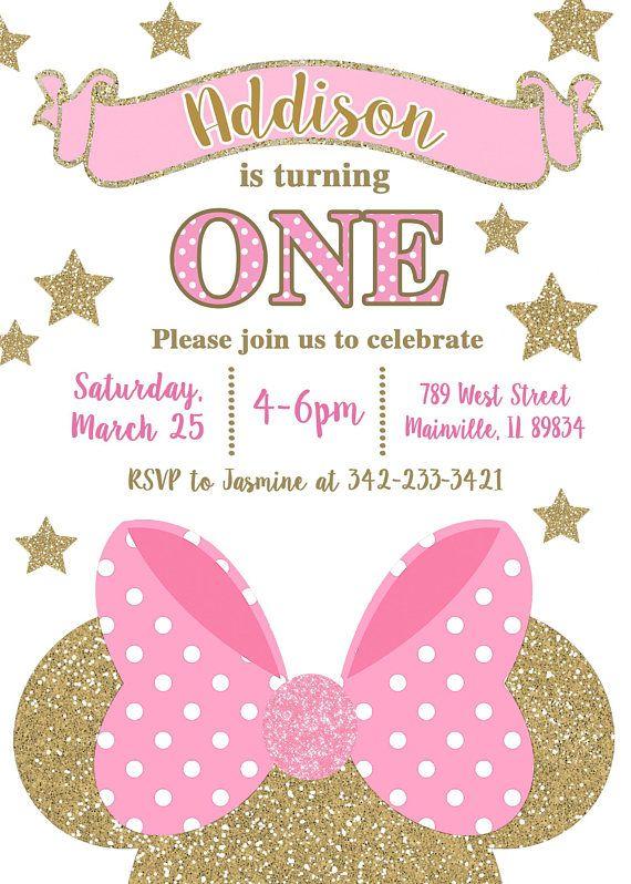 Invitación Fiesta De Cumpleaños De Minnie Mouse Rosa Oro
