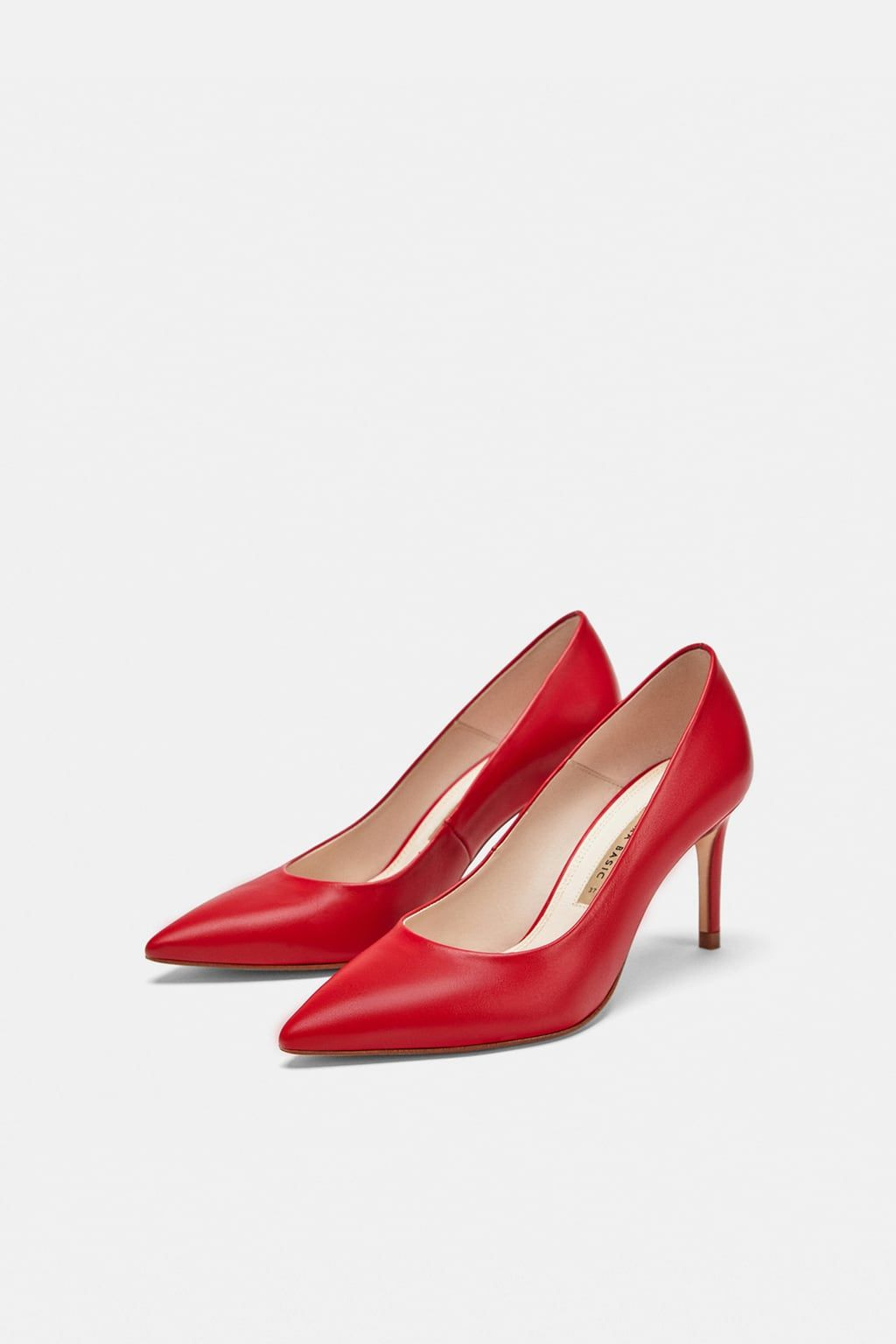 22110e37459 Image 1 of LEATHER HIGH-HEEL COURT SHOES from Zara Red Pumps