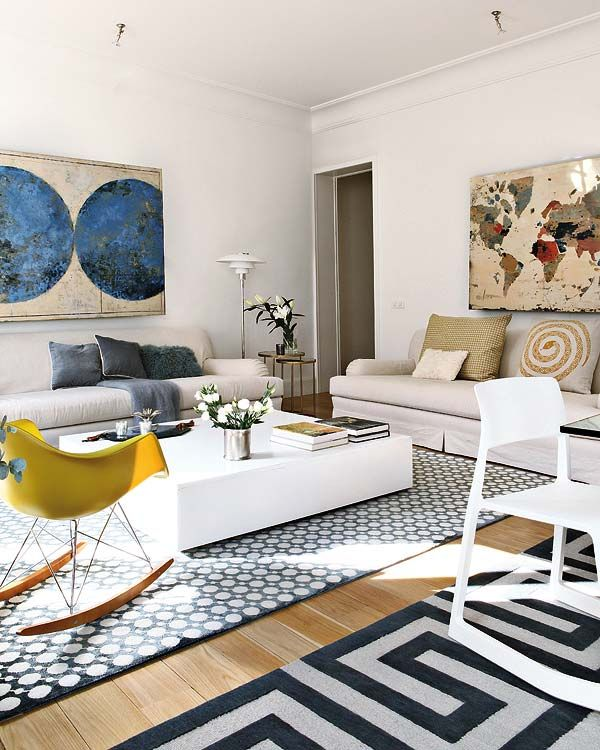 One Bedroom Living Room: Open Space Apartment Interior Design In Madrid