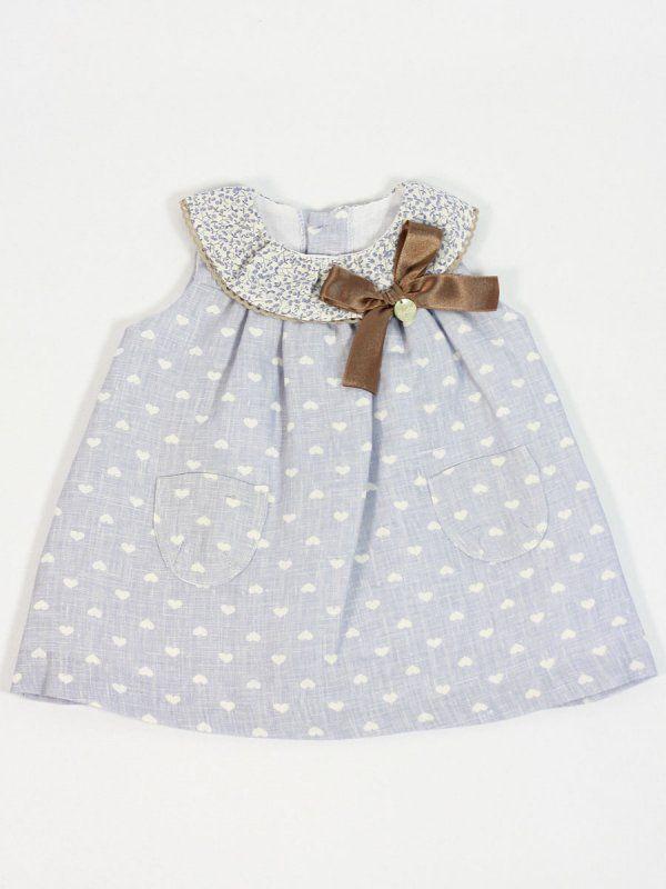 vestido bebe niña verano vestir azul corazones rochy  ce3dd3f11766