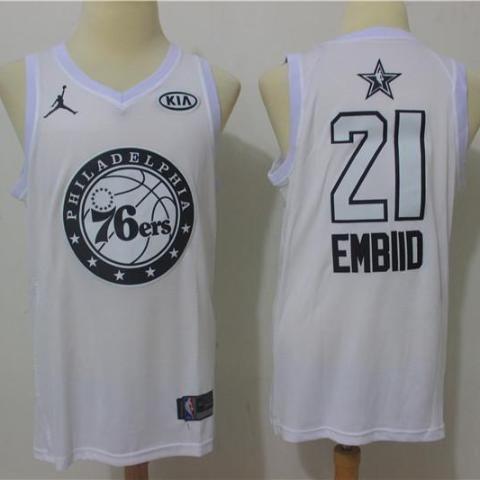 bdb2468ce Men 2018 All Star 21 Joel Embiid Jersey White Philadelphia 76ers Jersey