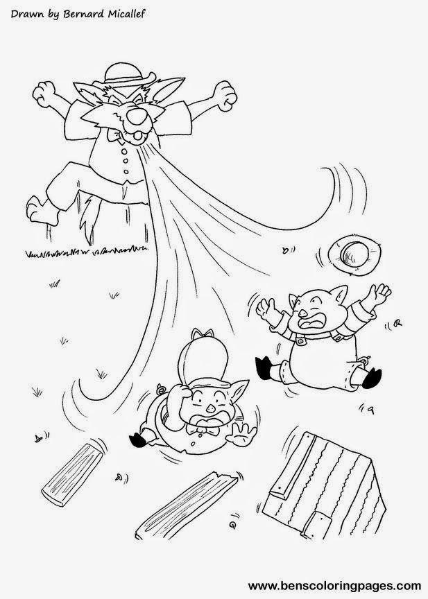 Dibujos Para Colorear A Los Tres Cerditos Y El Lobo Cuento En