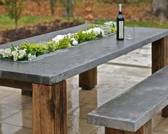 custom indoor outdoor concrete tables home decor pinterest tisch m bel und gartentisch. Black Bedroom Furniture Sets. Home Design Ideas