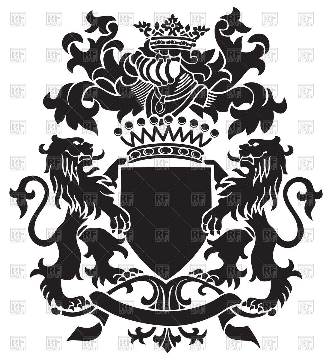 Vector image of Medieval heraldic emblem - royal coat of ...