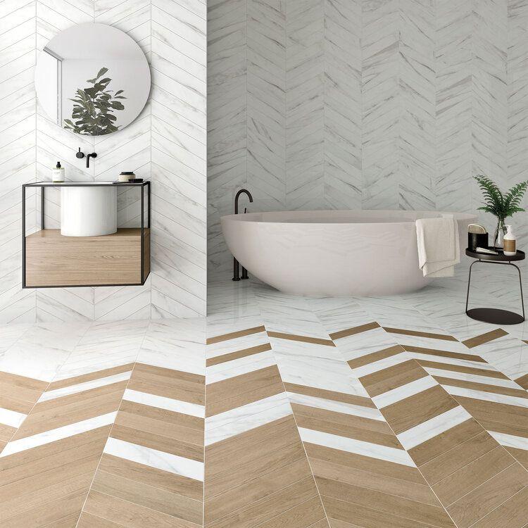 Wow 60º Chevron Bathroom Interior Design Unique Flooring Transition Flooring