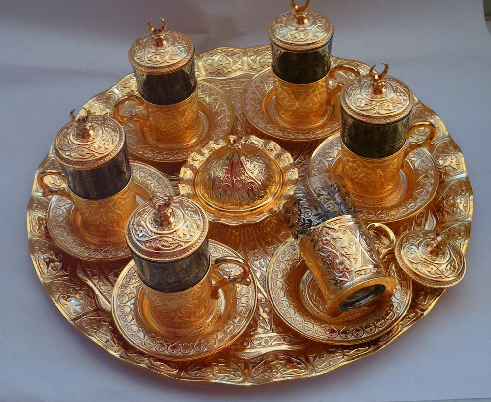Details about authentic turkish tea water coffee set 6 cup