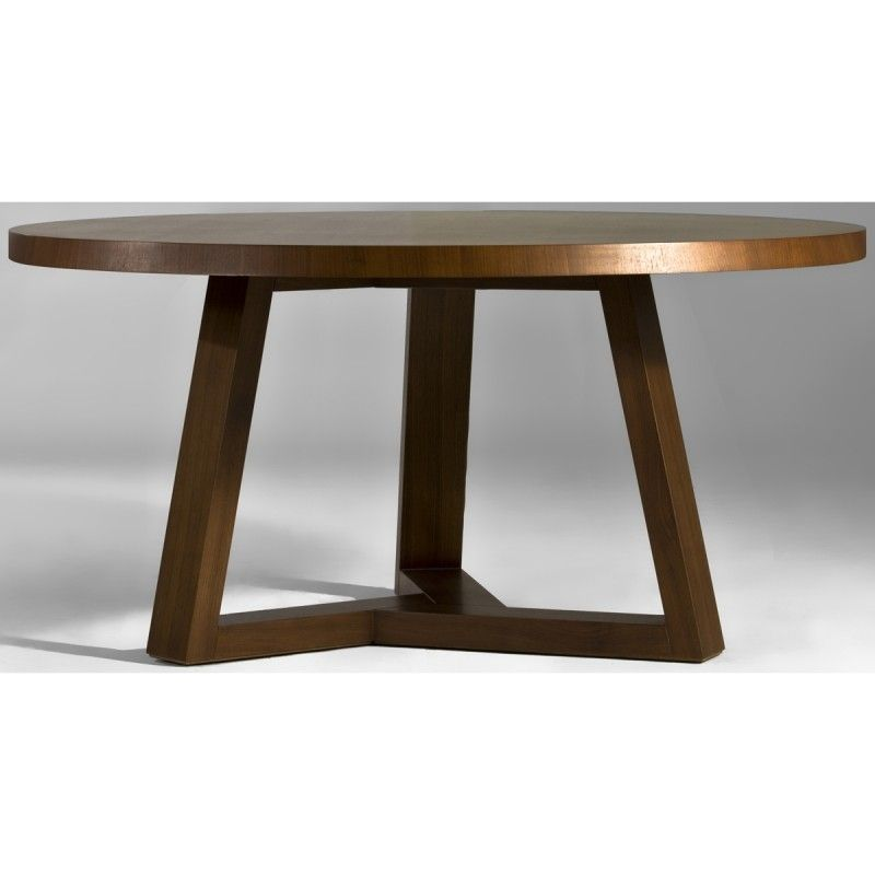 Superbe Walnut Round Dining Table   Foter