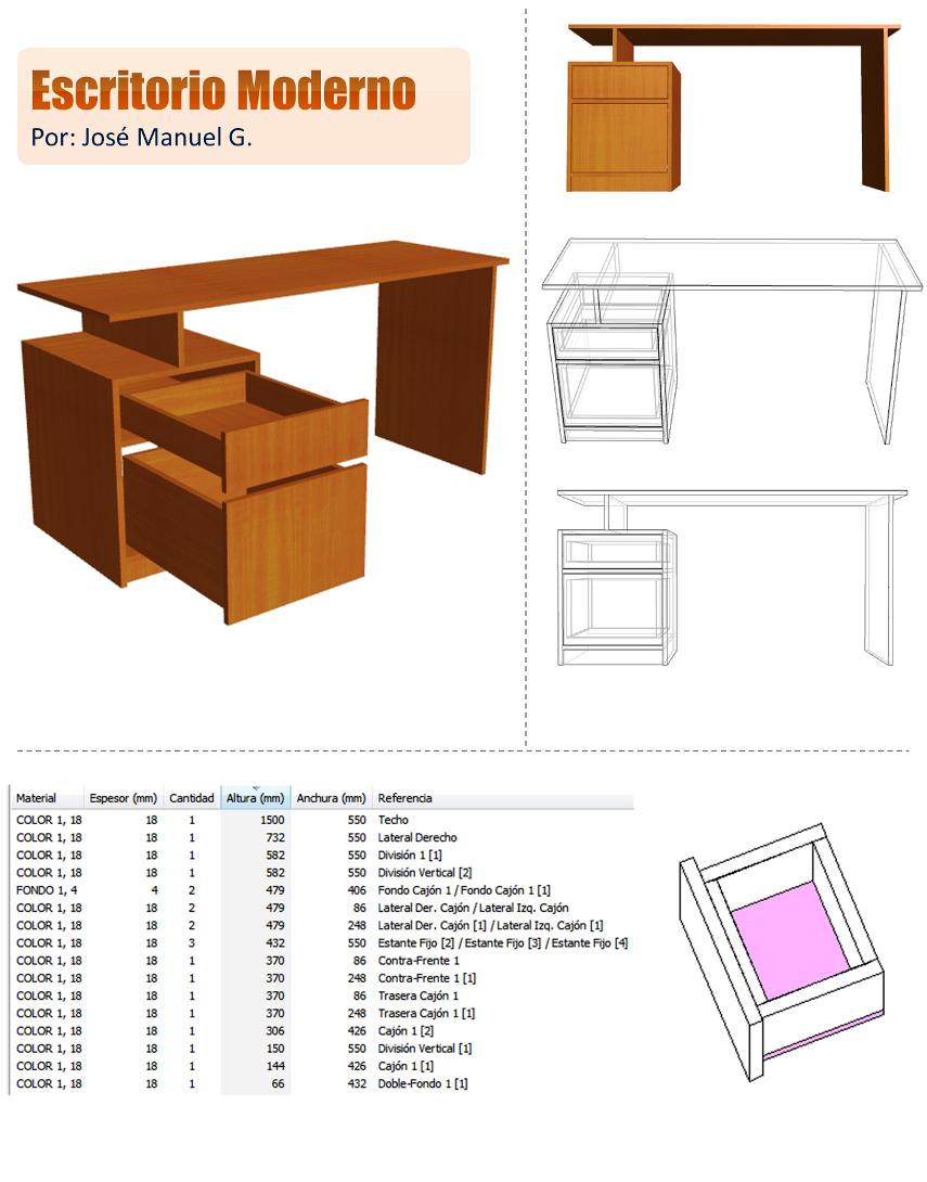 Dise o de muebles madera escritorio moderno dise o 3d for Planos de escritorios