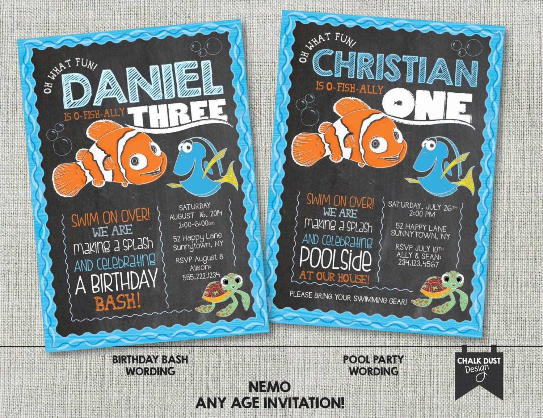 Custom chalkboard style first birthday any age NEMO invitations ...