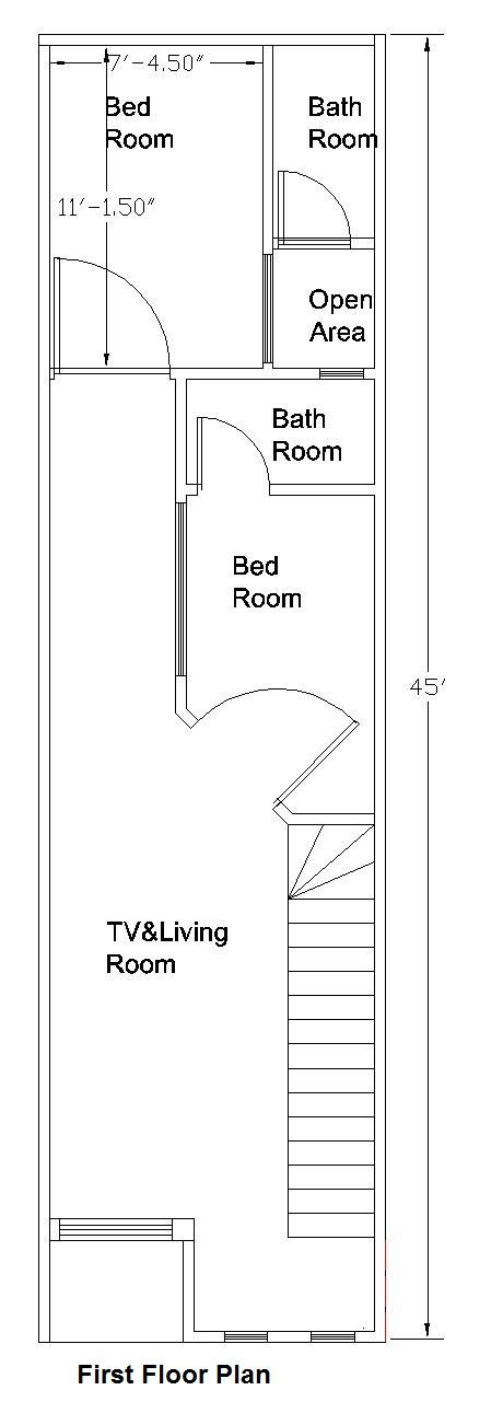 Room Floor Plan Designer Free: 12×45 Feet /50 Square Meters House Plan (With Images