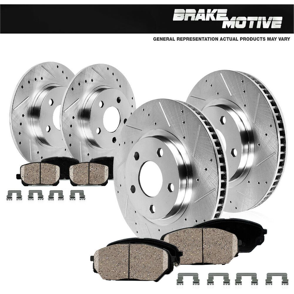 Front+Rear Black Drill Slot Brake Rotors And Ceramic Pads For 04-08 Acura TL