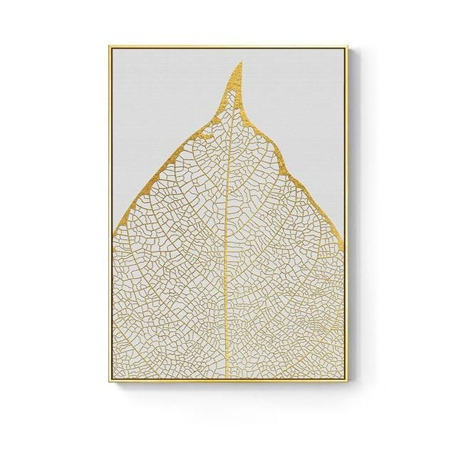 Photo of Nordic Golden Abstract Leaf Flower Poster – G- White and Gold Skeletal / 30X40cm No Frame