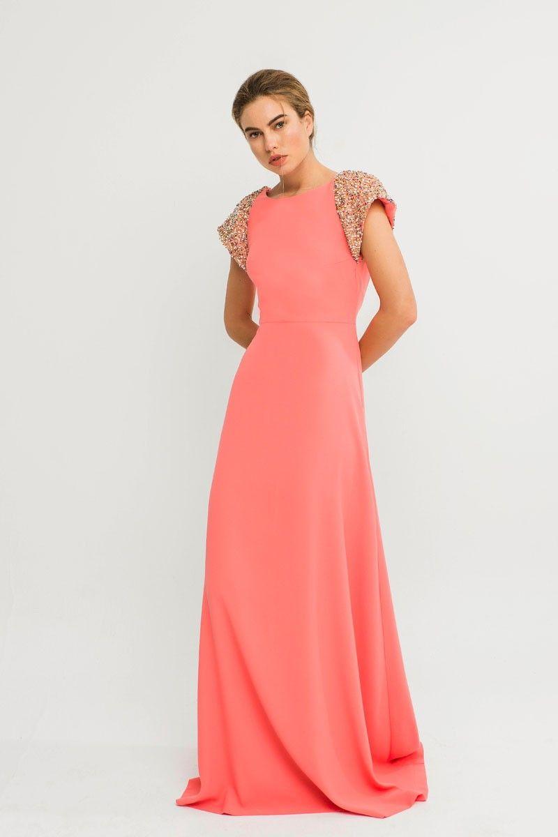 019ca928b1f1 Vestido Largo Coral Lentejuelas Briza en 2019 | vestidos fiesta ...