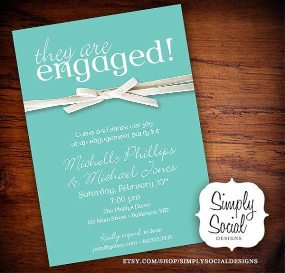Tiffany Blue And Velvet Ribbon Engagement Party Invitation