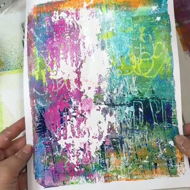 The only time cleaning makes me happy...when it is a clean up print on a gel plate!  Was thinking art journal page at first but maybe I will frame this one...