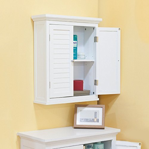 Amazon Com Bathroom Cabinet With Shutter Doors White By Bayfield Home Improvement Finished Bathrooms