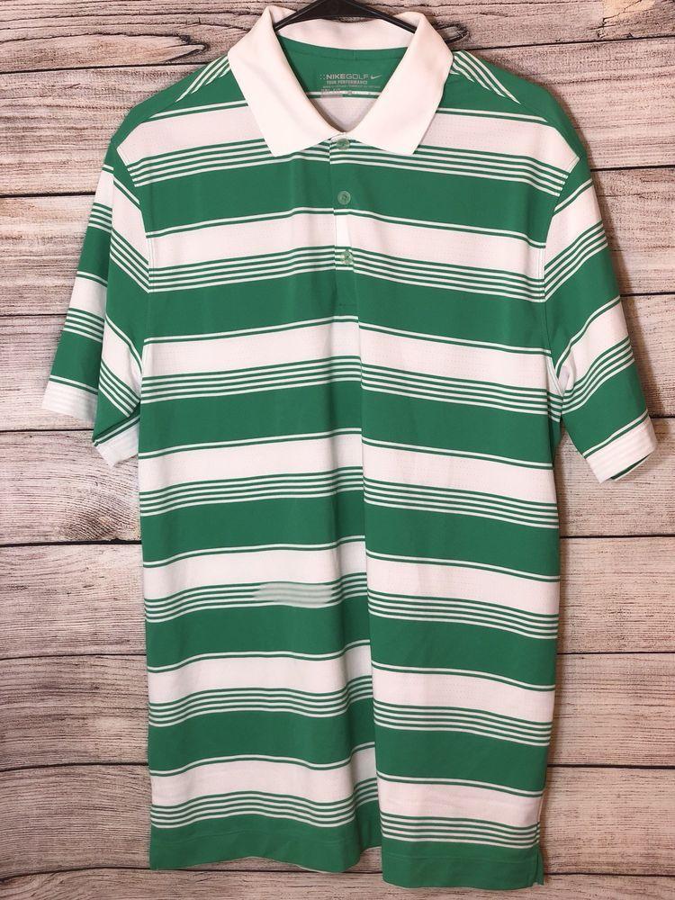 a5306c76 Mens- NIKE GOLF - TOUR PERFORMANCE-Polo Shirt Dri Fit Green White Stripe L  Large | eBay