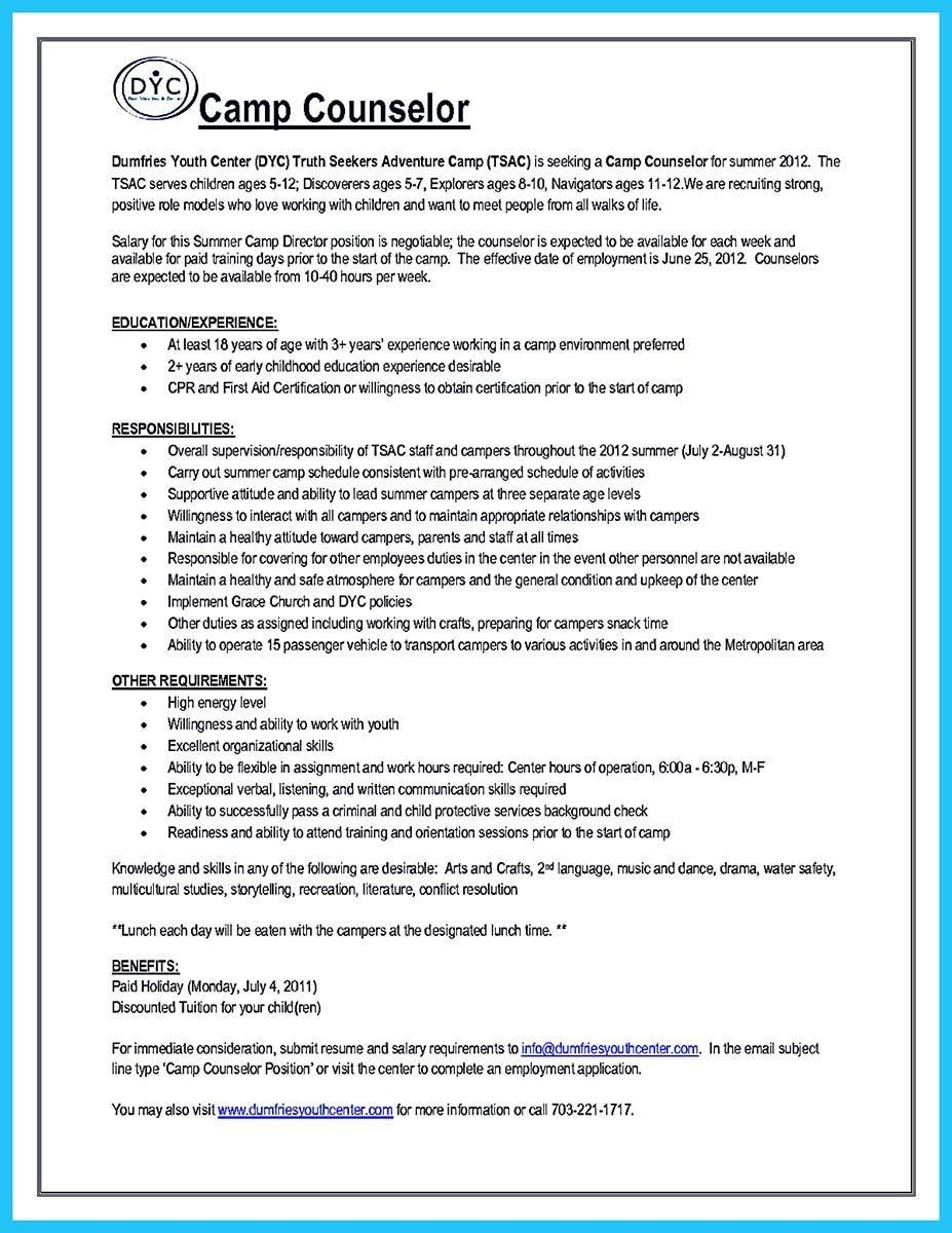 Camp Counselor Job Description For Resume Best Of Pin On Resume