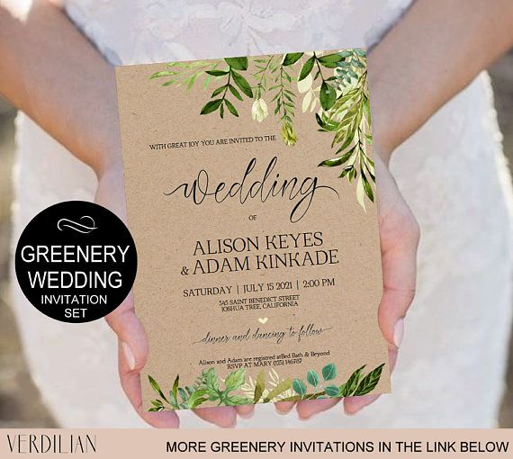 Rustic Wedding Invitation Template-Greenery Watercolor